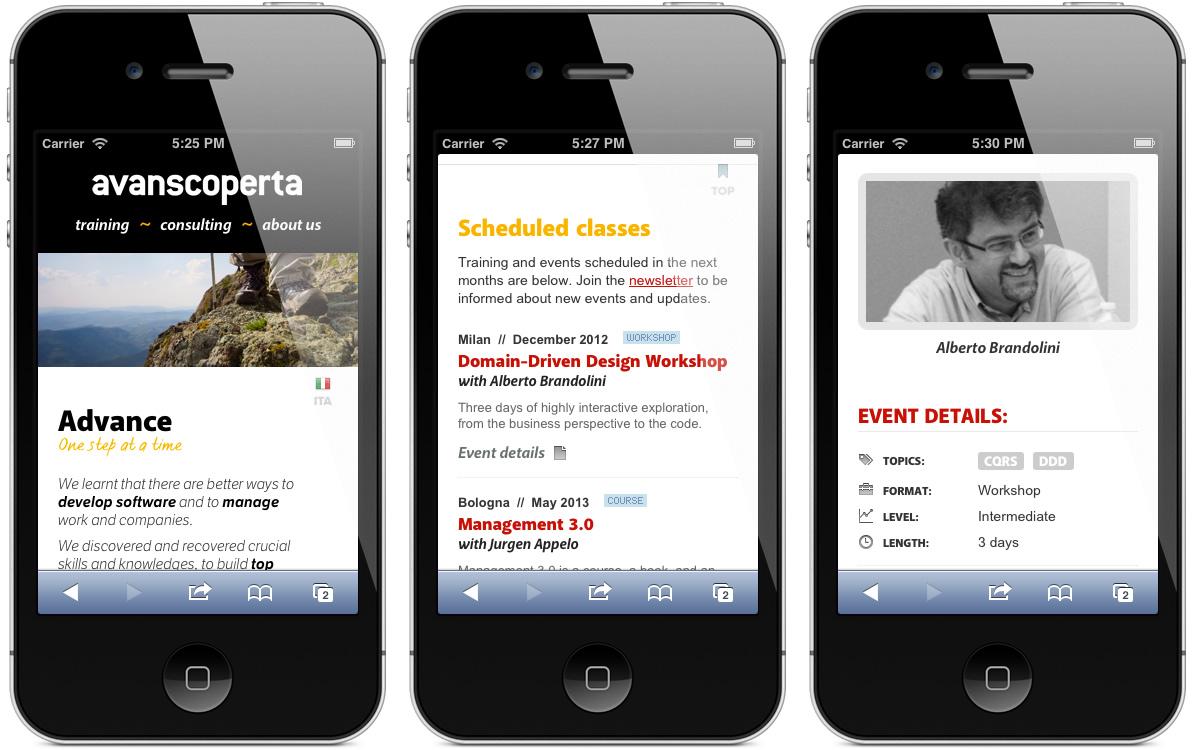 Il sito web Avanscoperta in versione mobile