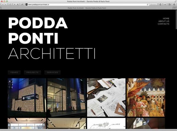 La pagina principale del sito Poddaponti Architetti