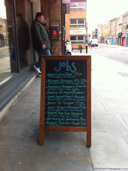 Job-board a Shoredicth, Londra