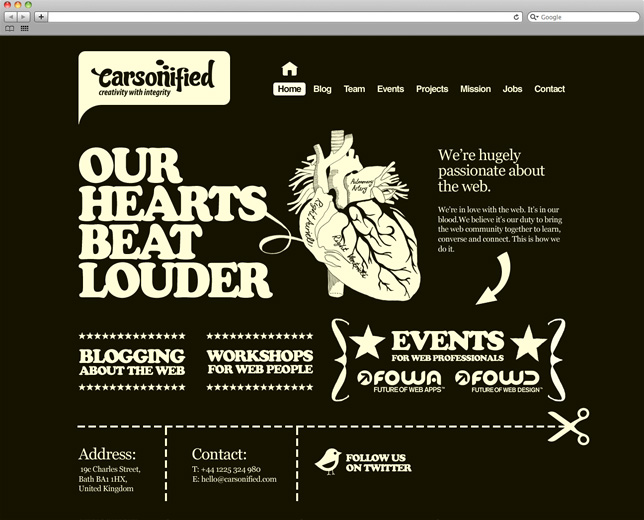 An image of an old version of the Carsonified website homepage (The good-old-days Carsonified website homepage)