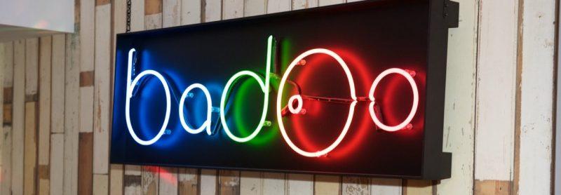 Badoo logo as neon light