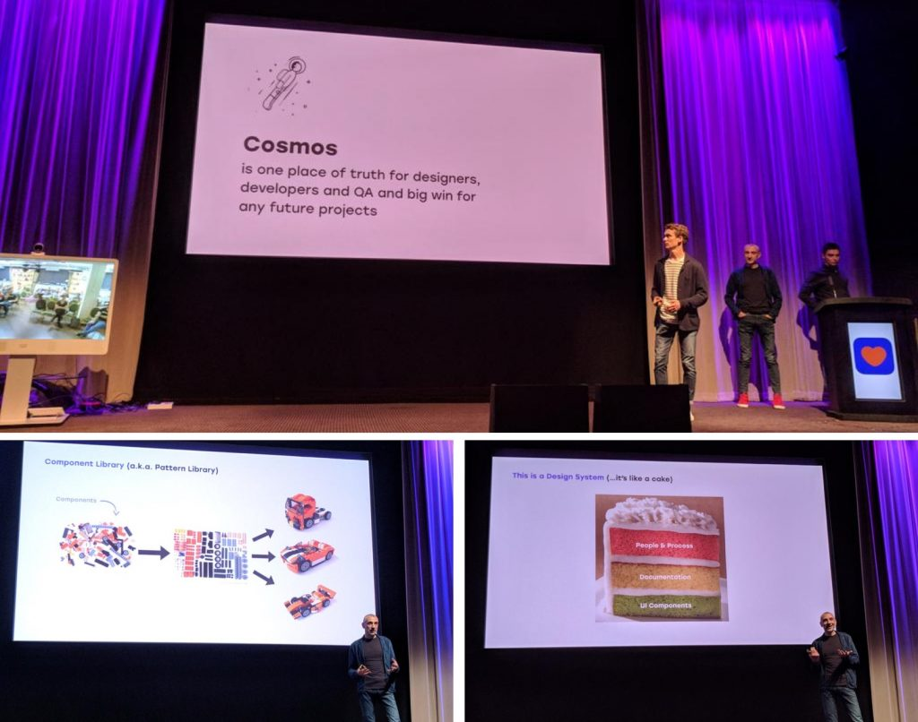 """A collage of pictures taken during the """"official"""" presentation of the Cosmos Design System at the company all-hands meeting."""