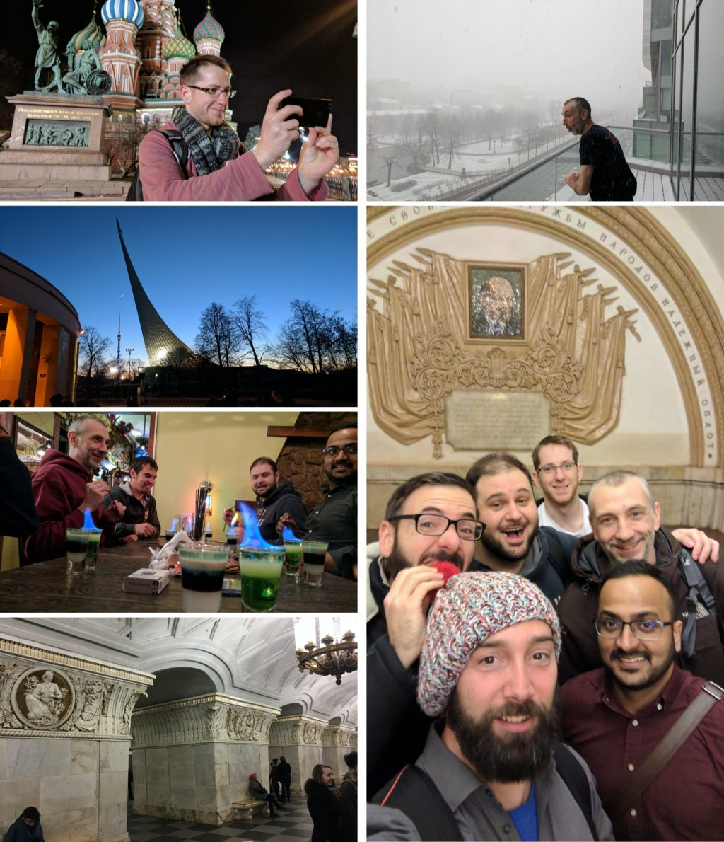 A collage of photos of the team in Moscow.